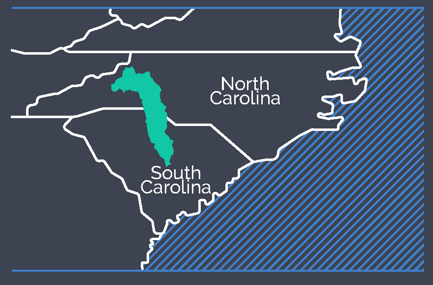 Small inset showing the project locations stretching across North and South Carolina.